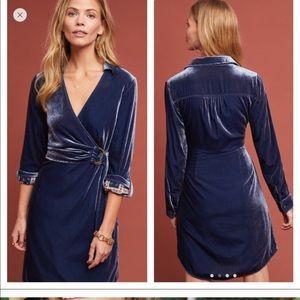 NWT Anthropologie velvet wrap dress